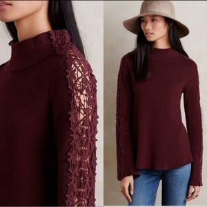 Knitted & Knotted Anthro Lace Funnelneck Sweater M